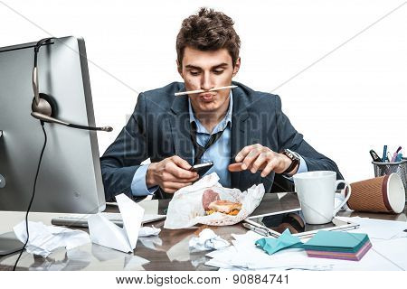 Slacker Man Using Smartphone While Getting Hamburger / Modern Office Man At Working Place, Sloth And