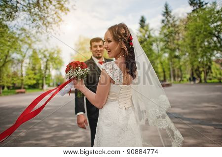 Dancing Wedding Couple With Smiled Emotions