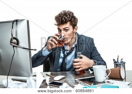 Young Drunk Caucasian Businessman With Bottle Of Alcohol / Modern Office Man At Working Place, Depre