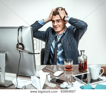 Business Man Working Problem Using Computer Looking At Screen, Hold Head Hand Pain, Ache, Businessma