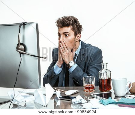 Businessman Looking At Computer Screen With Horror / Modern Office Man At Working Place, Depression