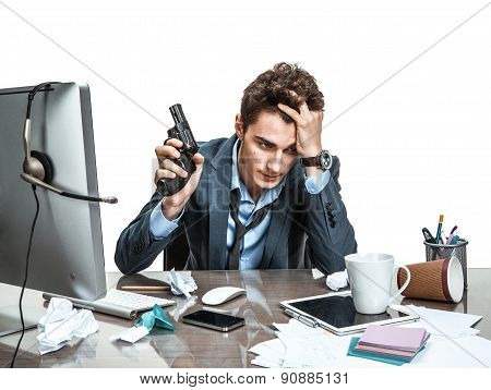Young Office Man With Gun Wants To Commit Suicide / Modern Office Man At Working Place, Depression A