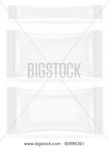 White Sealed Bag Packing Vector Illustration