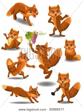 cartoon fox doing different activities