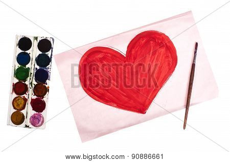Pink Hearts, Chalk Drawing, Hand-painted - Stock Image