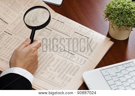 Magnifying Glass And Financial Data