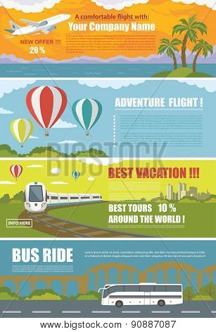 Set of Colorful Travel Banners with Flat Design. Flying airplane, Train, Bus, Hot Air Balloon. Transportation.