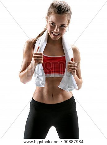 Fitness Woman Sweating. Beautiful Sport Girl With Towel And Sweat Looking At Camera Tired, Exhausted