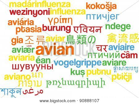 Background concept wordcloud multilanguage international many language illustration of avian
