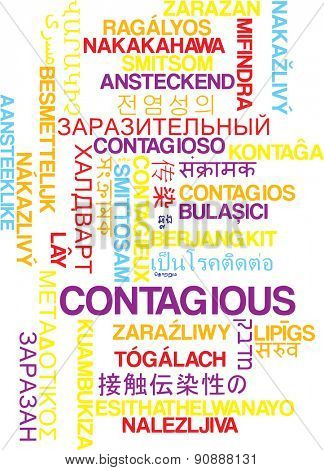 Background concept wordcloud multilanguage international many language illustration of contagious