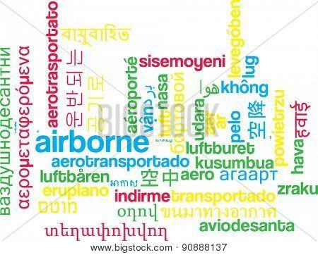 Background concept wordcloud multilanguage international many language illustration of airborne