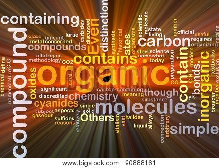 Background concept wordcloud illustration of organic compound glowing light