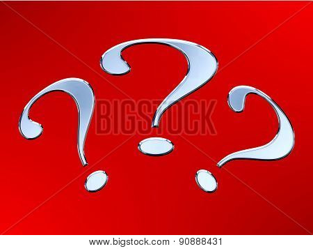 Question mark with metal effect on the red background