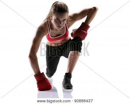 Pretty Woman Doing Lunges / Photo Set Of Sporty Muscular Female Brunette Girl Wearing Sports Clothes