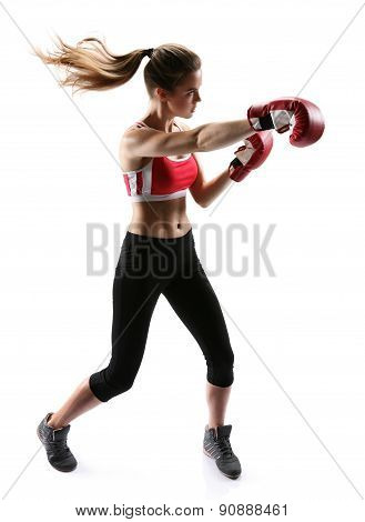 Boxing Woman Punching Wearing Boxing Gloves / Photo Set Of Sporty Muscular Female Brunette Girl Wear