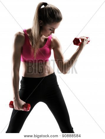 Fitness Woman Lifting Dumbbells Strength Training Biceps Doing Curls