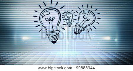 Light bulb against technology background