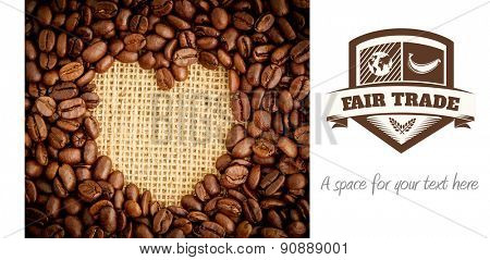 Fair Trade graphic against heart indent in coffee beans