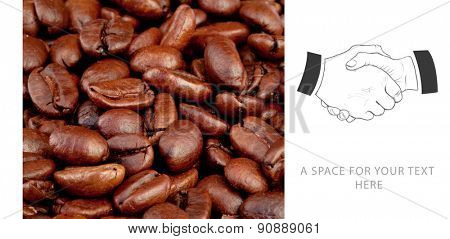 Handshake against coffee seeds laid out together