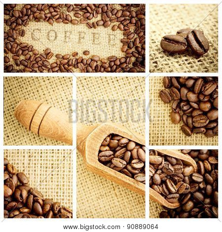 Wooden shovel full of coffee beans against various pictures representing coffee