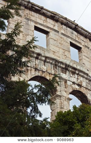 Detail Of Amphitheater In Pula