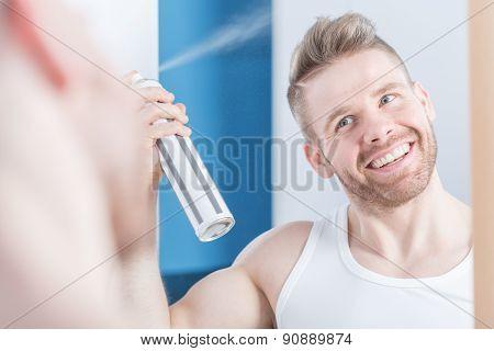 Metrosexual Man Using Hair Spray