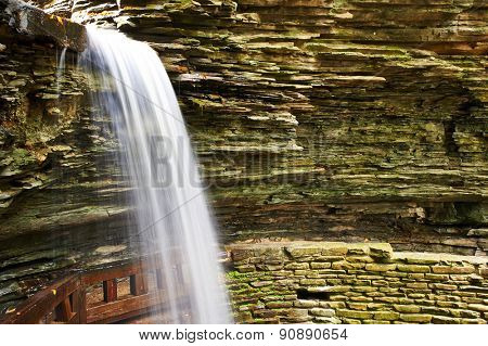 Cave waterfall at Watkins Glen state park, New York, USA