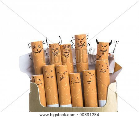 Box of cigarettes with Devil Face isolated on a white background