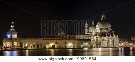 Santa Maria della Salute at night in Venice