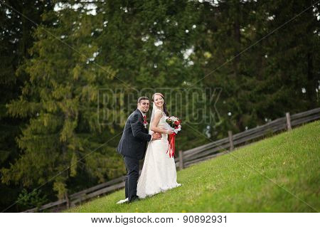 Wedding Couple In The Carpathian Mountains