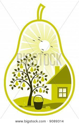 Birnbaum und Cottage in pear