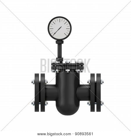 Black Part Of A Pipeline With The Manometer