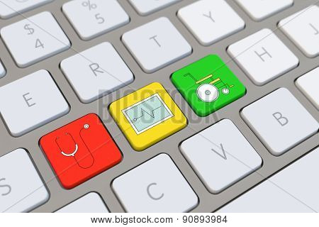 Symbol for health and medical care on a computer keyboard (3D Rendering)