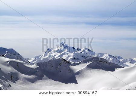 Snowy Winter Mountains. Caucasus Mountains