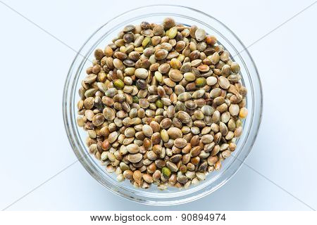 Hemp seeds in the glass bowl isolated
