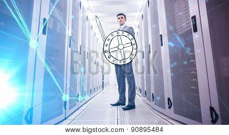 Futuristic black background against data warrior