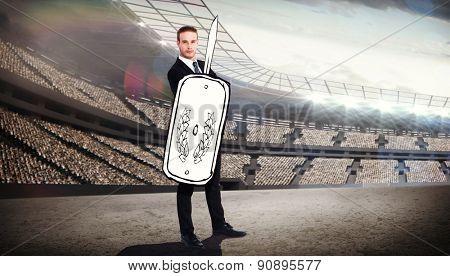 Corporate warrior against stadium