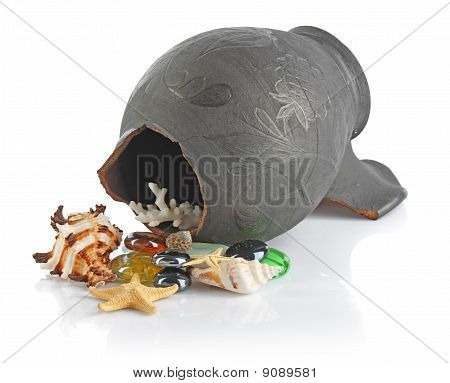 Broken Amphora With Seashells