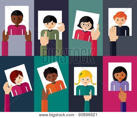 Vector flat illustration of young people. Colorful flat design set of hands holding avatars of girls and boys. Vector illustration. Group of young people.