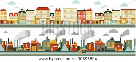 Industrial and city panorama background in flat style