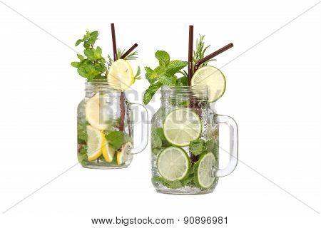 Lemon Lime Soda Mint Rosemary Fresh Drink Isolated