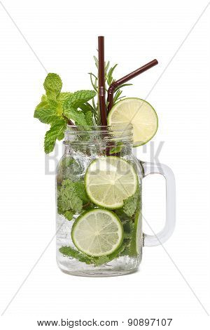 Lime Soda Mint Rosemary Fresh Drink Isolated