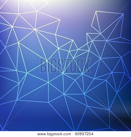 Blue Abstarct Background With Grid