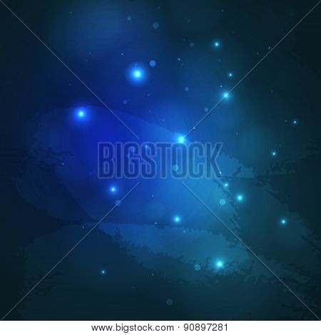 Blue Abstract Cosmic Background