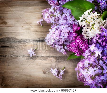 Lilac flowers bunch over wooden background. Beautiful violet Lilac flower border design closeup. Wood. Copy space for your text
