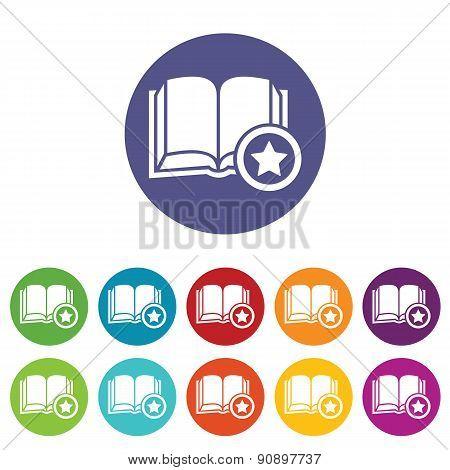 Favorite book icon set