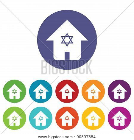 Judaic house icon set