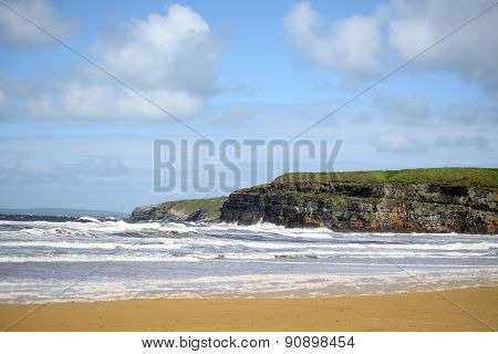 Beach Waves And Cliffs On The Wild Atlantic Way
