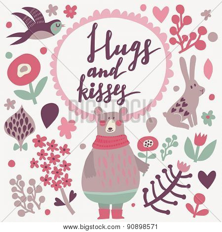 Hugs and kisses - lovely vector card. Awesome cartoon collection in vector. Concept set with birds and animals. Swallow, rabbit, bear, flowers and bird in sweet colors in vector