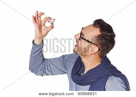 Man examining big diamond